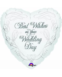 """9"""" Wedding Best Wishes Inflated with Cup & Stick"""