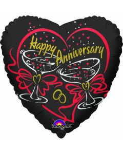 "9"" Happy Anniversary Toast Inflated with Cup & Stick"