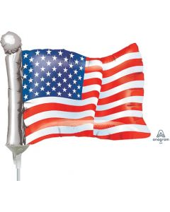 "14"" American Flag Inflated with Cup & Stick"