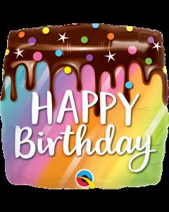 """18"""" Rainbow Drip Cake B'day"""