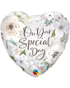 "18"" Special Day White Floral Pkg"