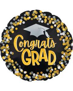 """18"""" Grad Silver & Gold Confetti"""