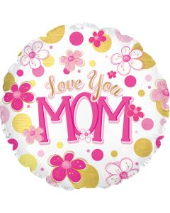 "18"" Love Mom Flowers & Dots"