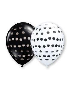"11""Polka Dot Sprays Black/White Assort 50ct"