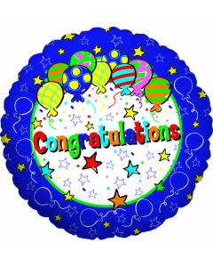 "9"" Congratulations Balloons Inflated with Cup & Stick"