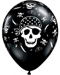 "11"" Pirate Skull & Cross Bones Onyx Blk 50ct"