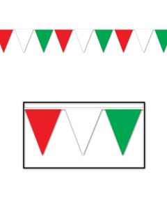 30' Pennant Flags Red-Wh-Gr