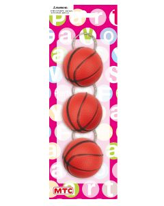 Plastic Basketball Keychains 3ct