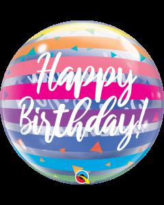 "22"" Rainbow Stripes B'day Bubble"
