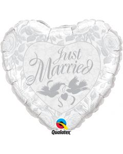 """18"""" Just Married White & Silver"""