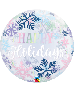 "22"" Happy Holidays Snowflakes Bubble"