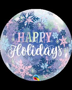 "22"" Happy Holidays Snowflakes Bubble"