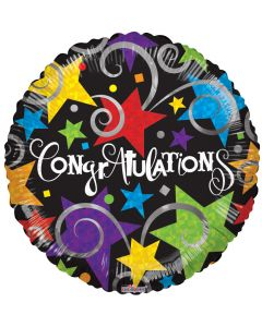 """9"""" Congrats Brite Stars & Swirls Inflated with Cup & Stick"""
