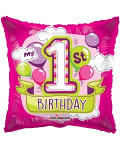 """18"""" 1st B'day Pink Balloons"""