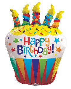 """36"""" B'day Cupcake & Candles"""
