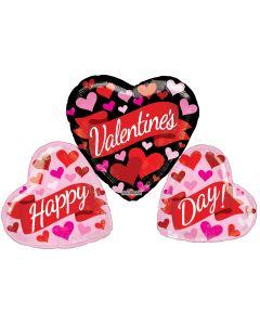 """36"""" Valentine Bk-Wh Heart Trio"""
