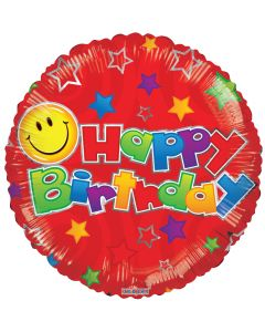 """18""""Happy B'day Smiley Red"""