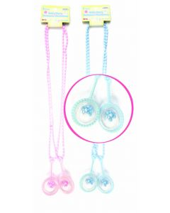 "30"" Baby Rattle Necklace Light Blue 2ct"