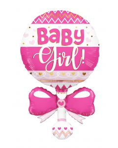"36"" Baby Girl Pink Rattle"