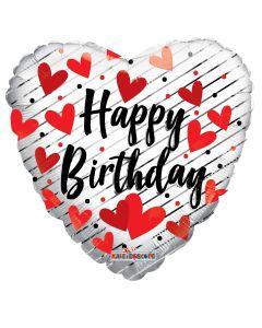 """18""""Happy Birthday Red Hearts"""