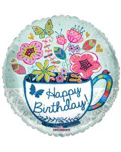 "18"" Birthday Tea Cup & Flowers"