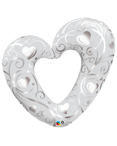 "42"" Pearl White Hearts & Filigree"