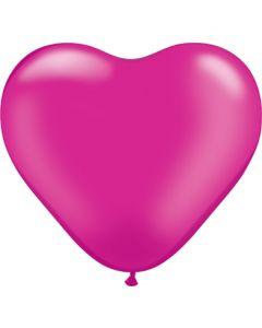 "6"" Pearl Magenta Hearts 100ct"