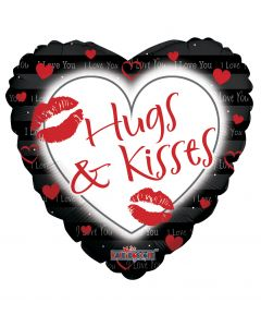 """9"""" Hugs & Kisses Black Inflated with Cup & Stick"""