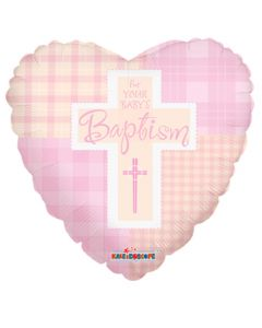 """9"""" Girl Baptism Quilt Inflated with Cup & Stick"""