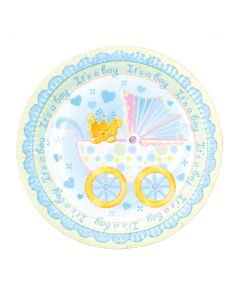 "7"" Baby Boy Trolley Plates 8ct"