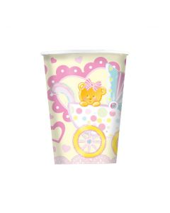9oz Baby Girl Trolley Cups 8ct