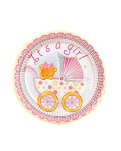 """7"""" Baby Girl Trolley Plates 8ct"""