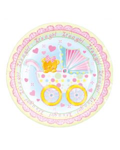 "9"" Baby Girl Trolley Plates 8ct"