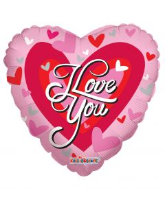 """9"""" Love Hearts Red & White Inflated with Cup & Stick"""