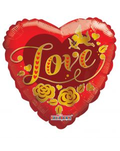 """9"""" Golden Love Inflated with Cup & Stick"""