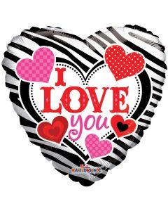 "18"" ILY Zebra Stripes & Hearts"