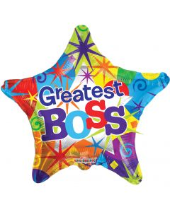 "9"" Greatest Boss Bright Star Inflated with Cup & Stick"