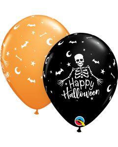 """11"""" Happy Halloween Skeleton  50 Ct Onyx Black & Orange"""