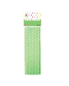 "7"" Paper Straws Mint Green Polka Dots 20ct"