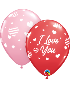 "11"" Love Hearts & Stripes  50ct"