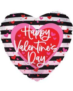 "18"" Valentine Hearts & Stripes Black"