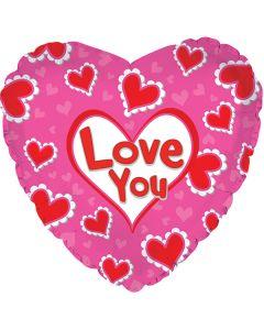 """18"""" Love You Heart Ruffles--"""