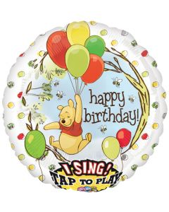 "28"" Pooh B'day Balloons Singing Balloon"