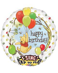 """28"""" Pooh B'day Balloons Singing Balloon"""