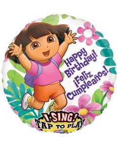 "28"" Dora B'day Flowers Singing Balloon"