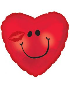 """9"""" Blushing Smiley Red Inflated with Cup & Stick"""