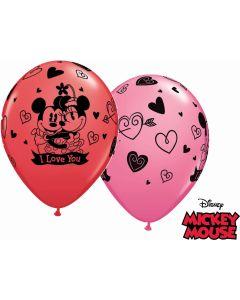 "11"" Mickey & Minnie I Love You Assort 25ct"