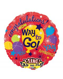 "28"" Congrats! Way To Go Singing Balloon"