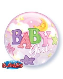 "22"" Baby Girl Moon & Stars Bubble"