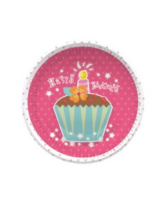 """7"""" Cup Cakes Plates 8ct"""